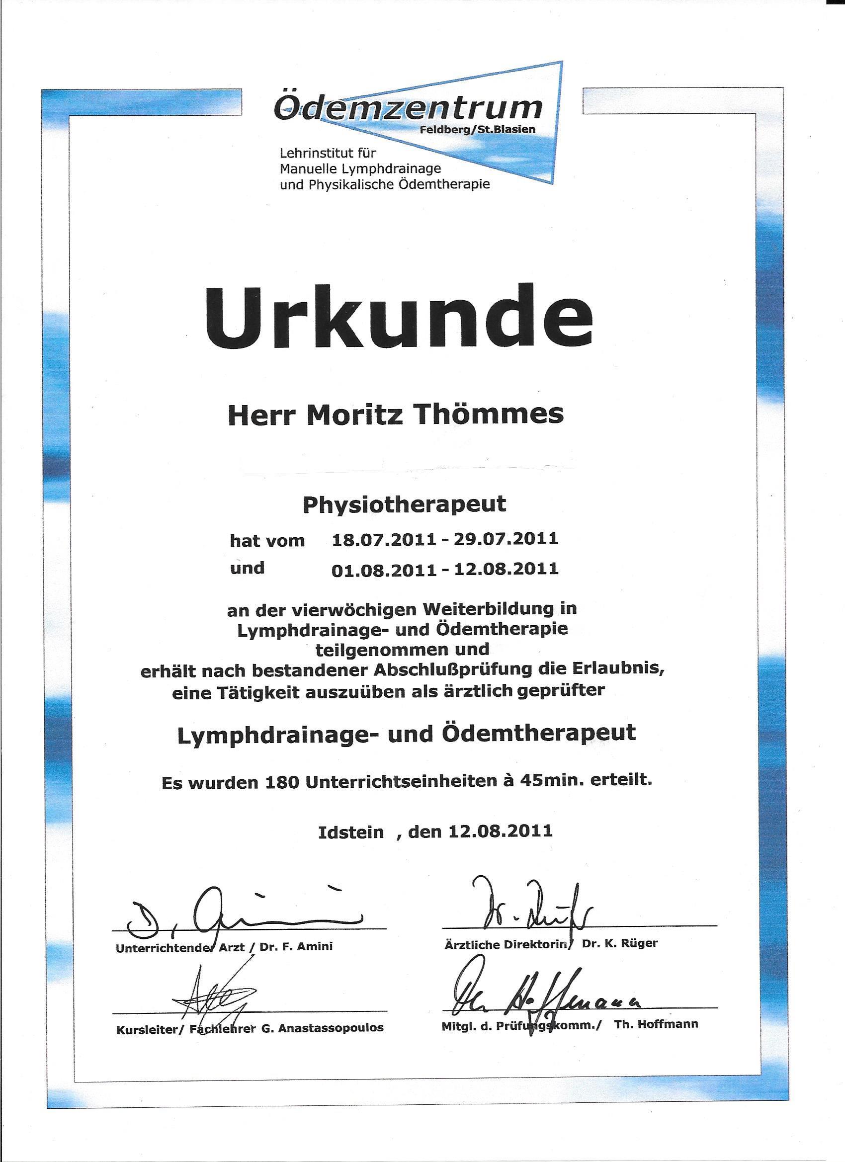 Zertifikat Lymphe