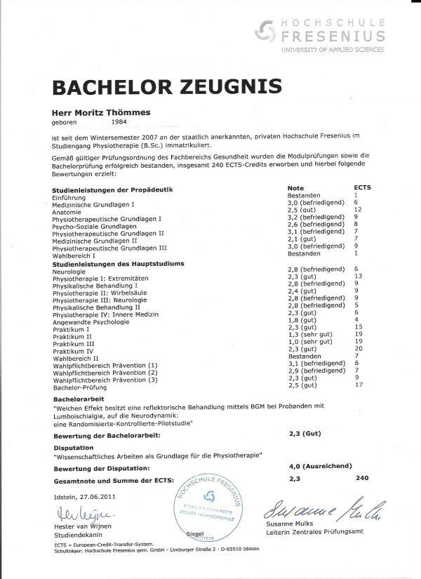 Bachelor Zeugnis